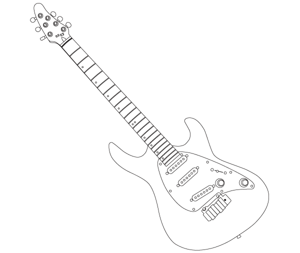 Cort Guitar Outline Vector Art