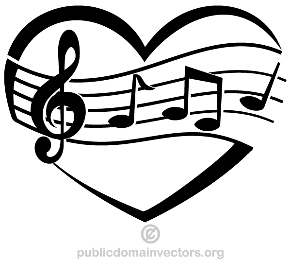 Music vector. Of love heart download