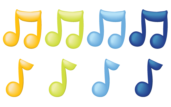 Vector Music Notes in Color