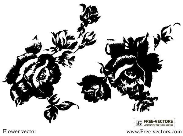 Rose Flower Silhouettes Free Vector Download Free Vector