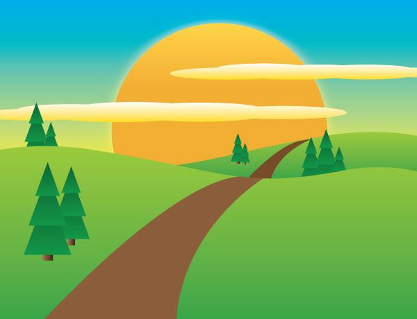 Landscape Illustration Vector Free: Sunny Meadow Landscape Vector Image