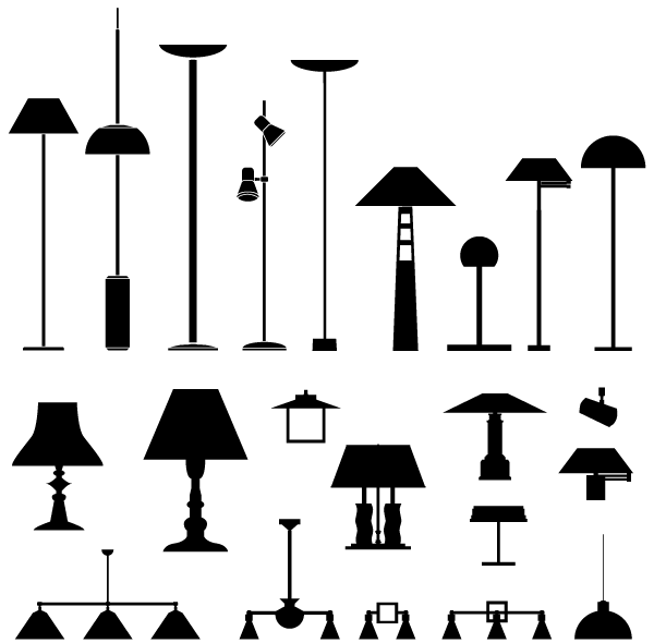 Royalty Free Desk Lamp Clip Art Vector Images: Lamps Vector Silhouettes Free Pack