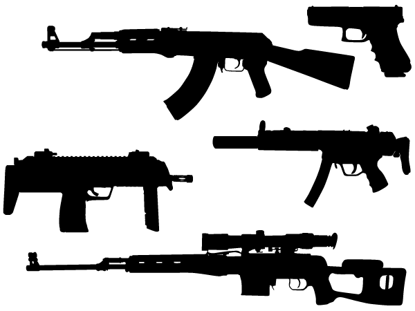 machine gun vector silhouettes free download free vector art free vectors