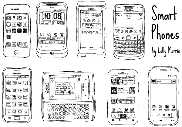 Hand Drawn Smart Phone Vector