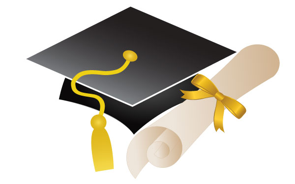 Free Vector Graduation Cap and Diploma