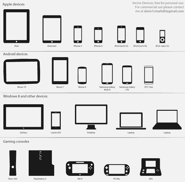Vector Technology Icons – Devices and Consoles