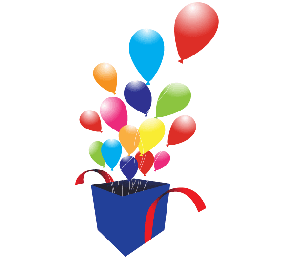 Box with Balloons Vector