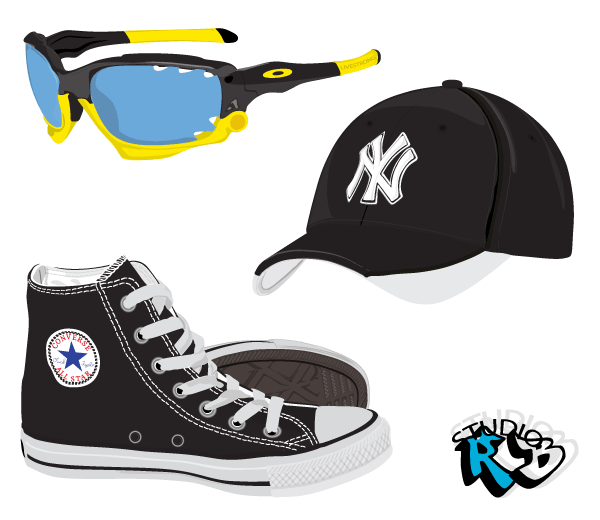 Fashion Stock Vector – Shoes, Sunglasses, Hat