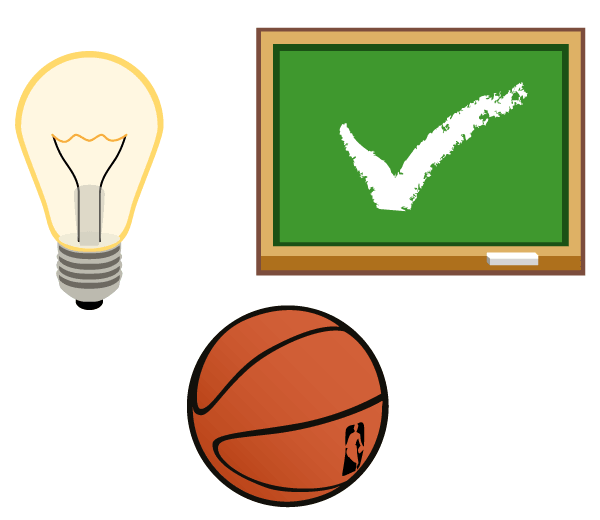 Light Bulb, Ball, Chalkboard Vector