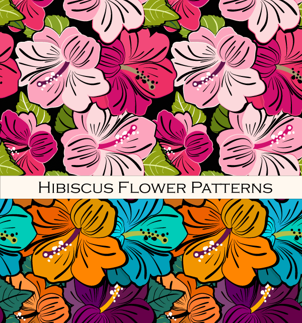 Hibiscus Flower Free Vector Pattern