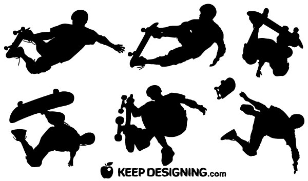 Skateboard Vector Silhouettes | Download Free Vector Art ...