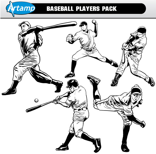 Base Ball Players Vector Pack