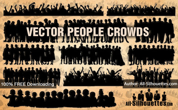 People Crowd Silhouettes Vector Free