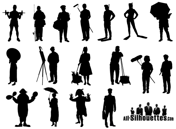 Free Working People Silhouette Vector