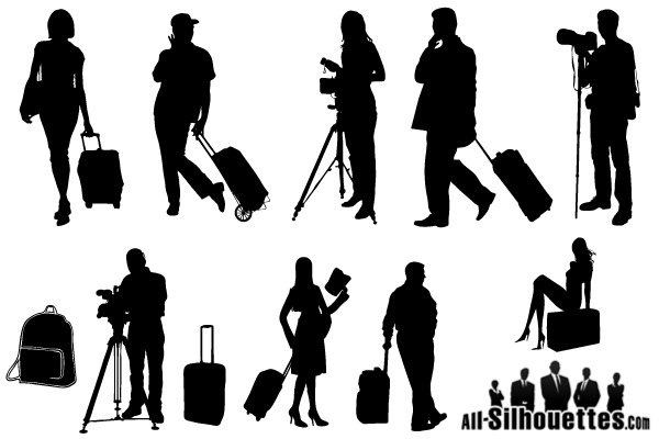 Tourists Travelers Silhouettes Free Vector