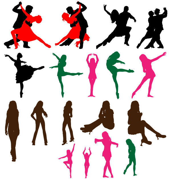 Free Dancing Couple Silhouettes Vector Art