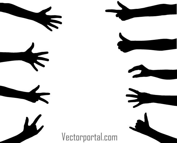 hand gesture vector silhouettes download free vector art free rh free vectors com hand vector logo hand vector free clip art
