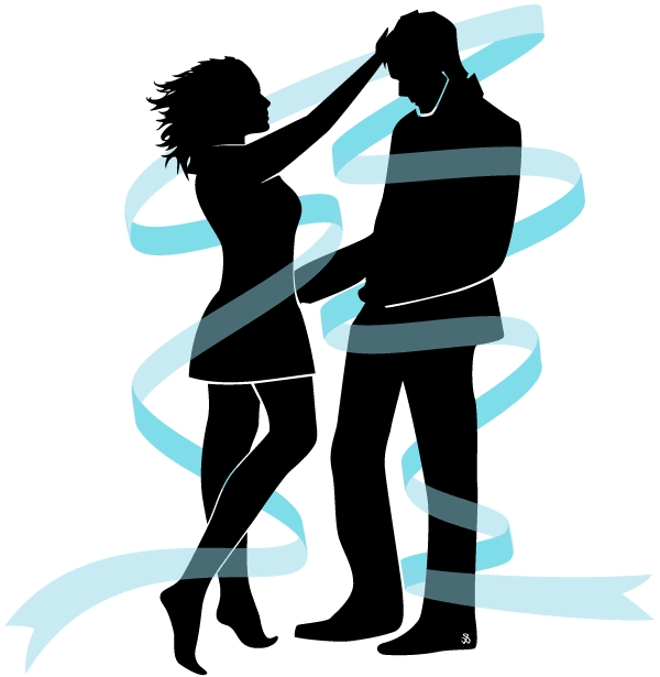 Vector Love Couple Silhouette Image