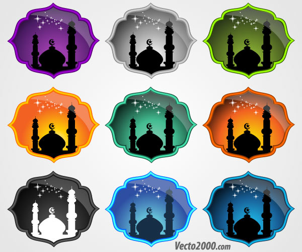 Free Mosque Icons Vector Set
