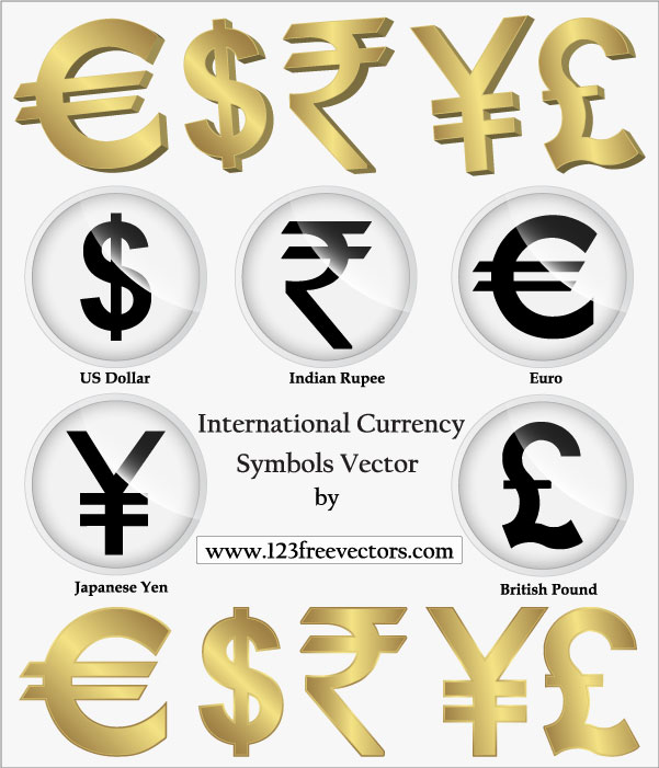 International Currency Symbols Vector Download Free Vector Art