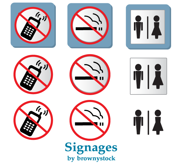 Vector Prohibited Signs: No Smoking and No Mobile Phones Sign Clipart