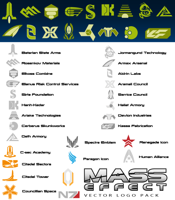 Mass Effect Logo Vector Illustrator Pack