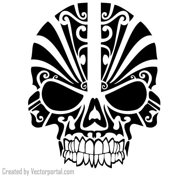 Tattoo Designs Vector Free Download: Vector Tribal Skull Tattoo Design