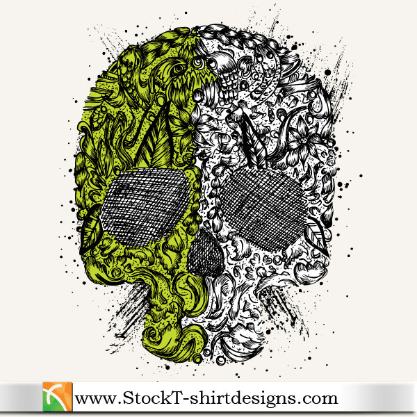Skull Ornament Free Vector Tshirt Design Illustration