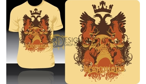 Vector T-shirt Design with Griffin, Crown and Skull