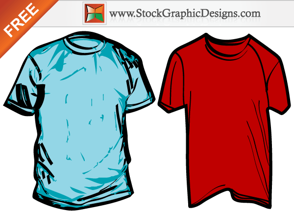 Wrinkled Men's T-shirt Free Vector Templates