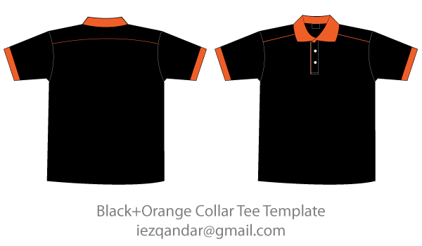 Vector Black Amp Orange Collar T Shirt Template Download