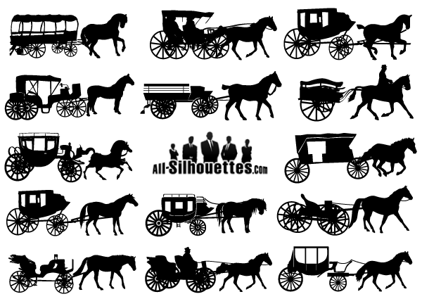 Horse-Drawn Carriage Silhouettes Vectors Free