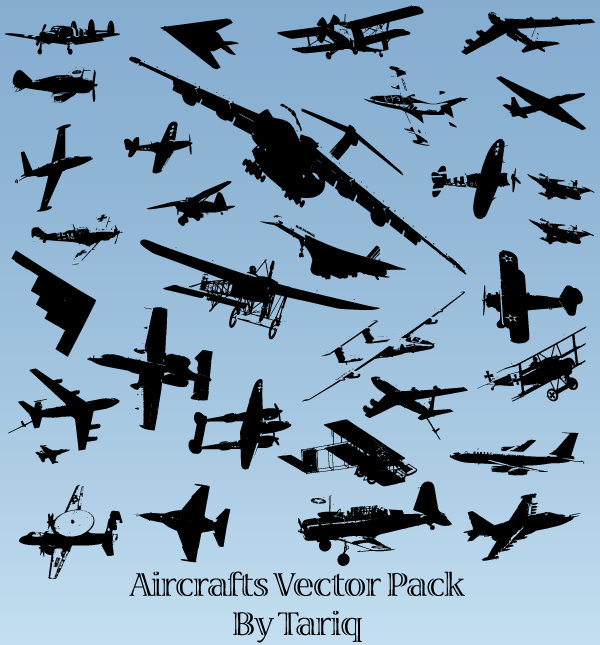 Aircrafts Silhouettes Vector Illustrator Pack