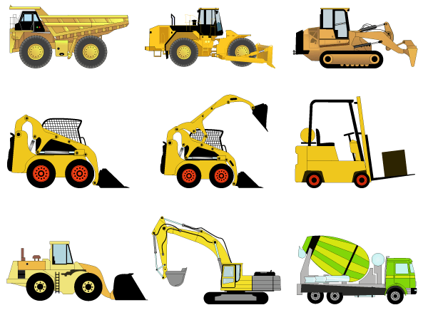 Construction Machines Vector Illustrator Pack 1