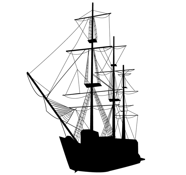 Vector Caravel Sailing Ship Silhouette