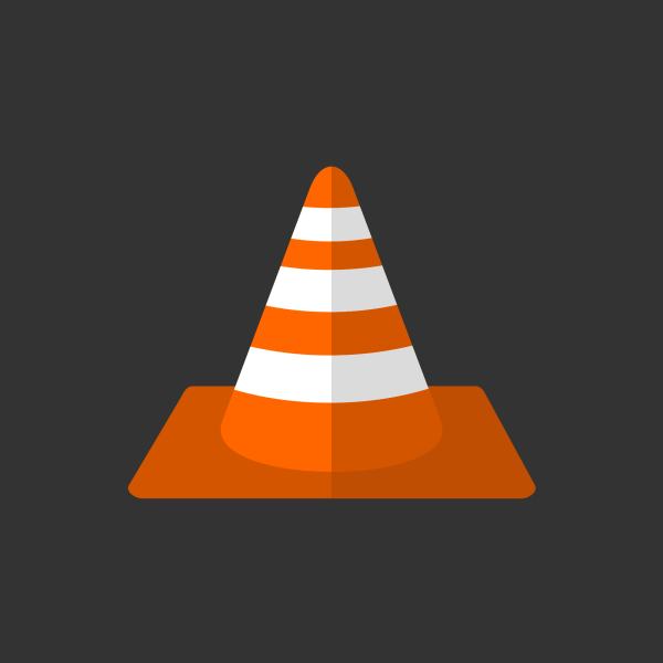 Orange Traffic Cone Vector Flat Icon