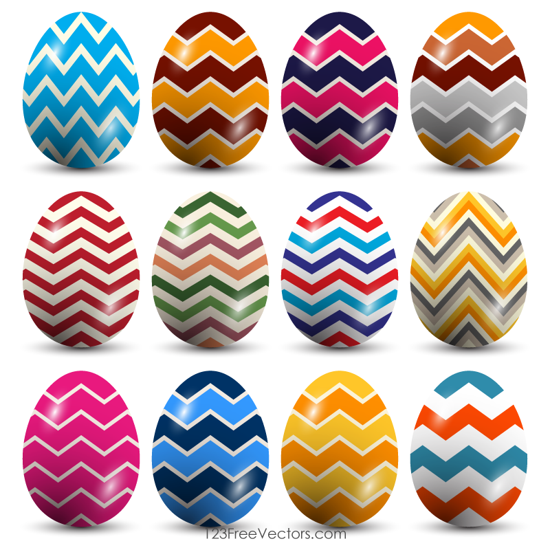 Zig Zag Pattern Easter Eggs Vector