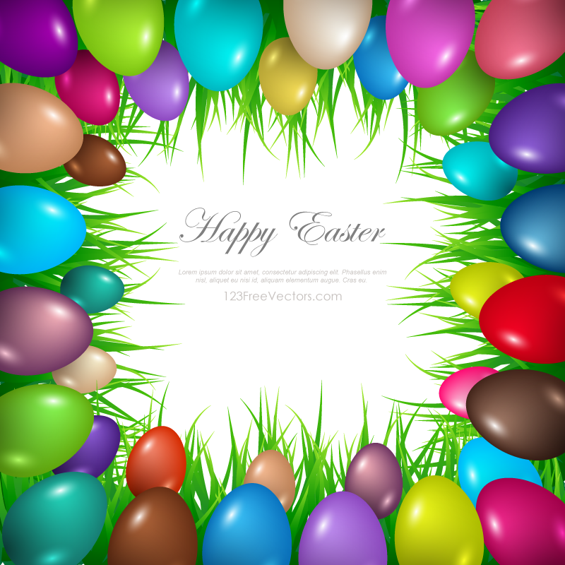 Colorful Easter Egg Border Clip Art