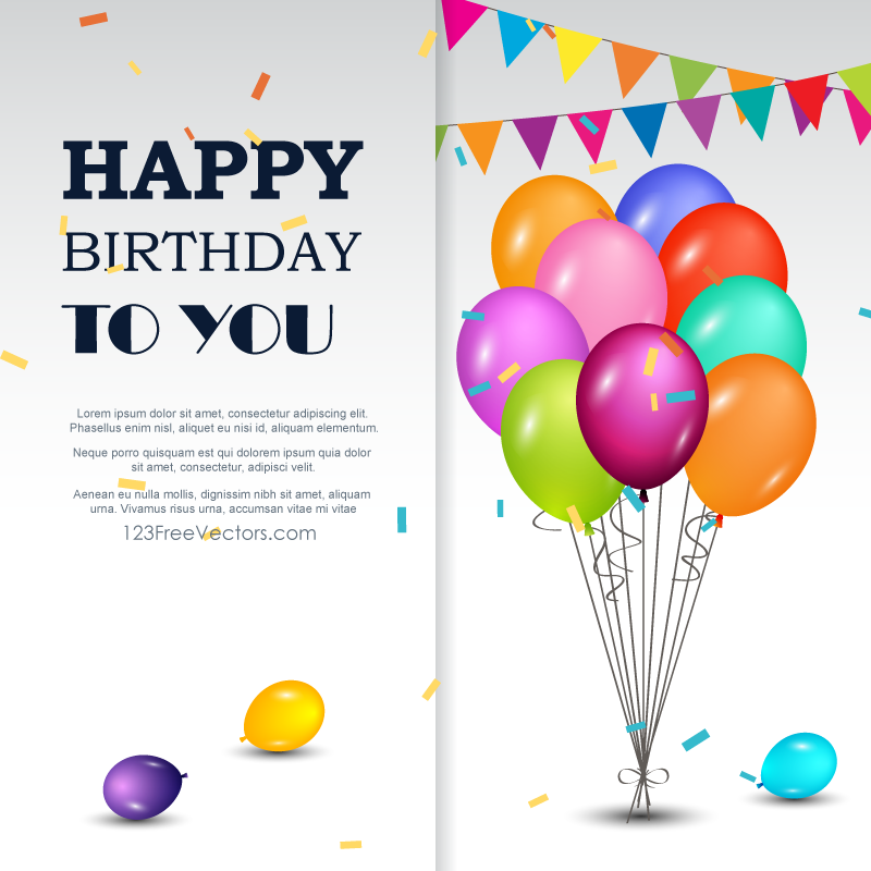 Happy birthday greetings card download free vector art - Birthday cards images free download ...